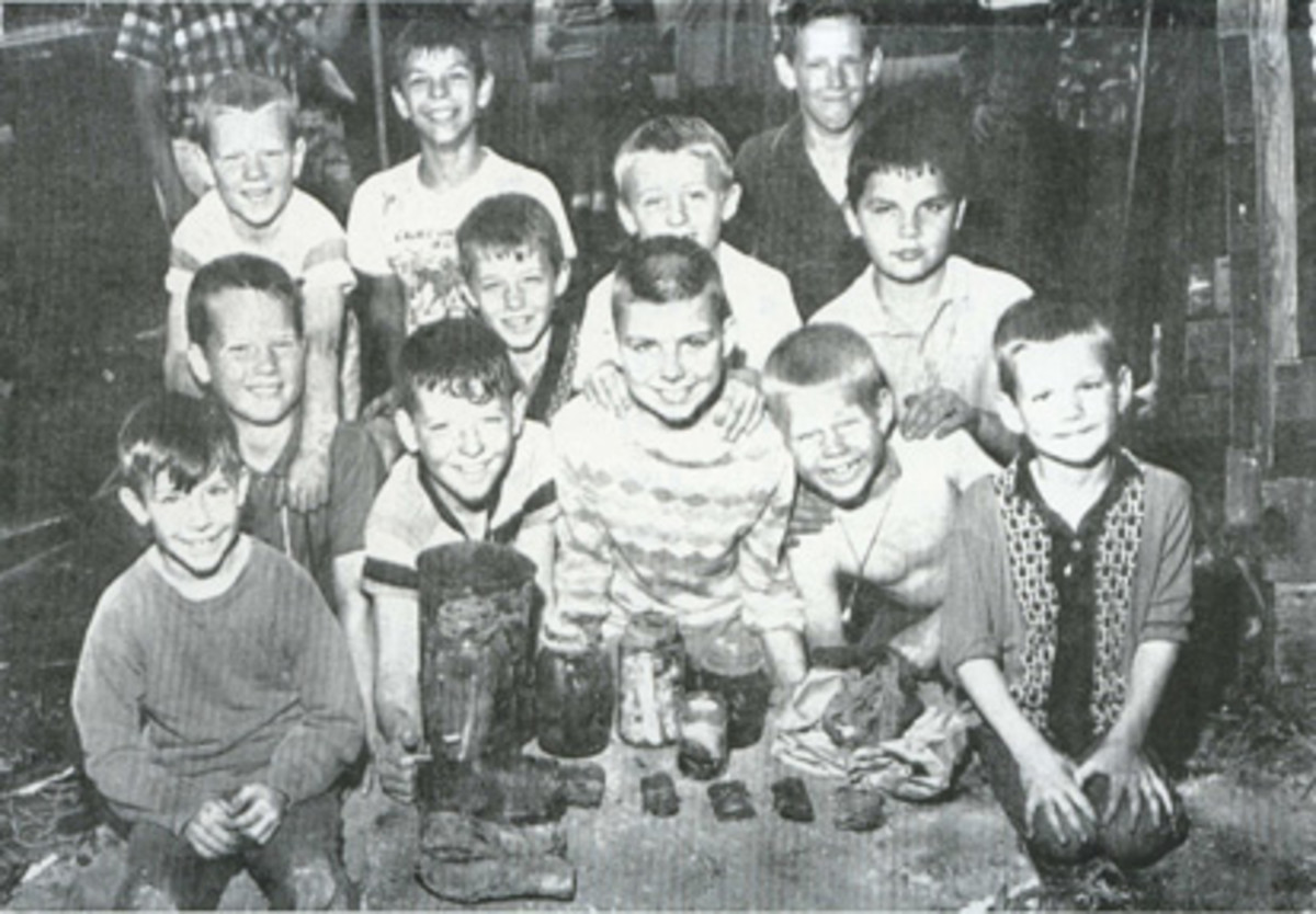 """This photo shows the 12 boys from Bayard, Iowa, who found the """"Boys' Hidden Treasure,"""" from where the author's tattered Gladbrook note hailed."""