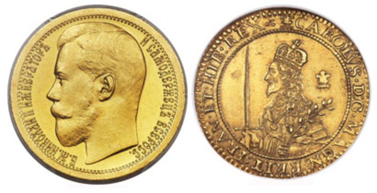 Rare and choice large gold coins of two executed monarchs: left, 1895 gold 10 ruble specimen of Nicholas II of Russia (KM-Pn143) that fetched $228,000; right, mint state Oxford triple unite of Charles II (S-2727, N-2383), which went for $204,000. (Images courtesy and © www.ha.com)