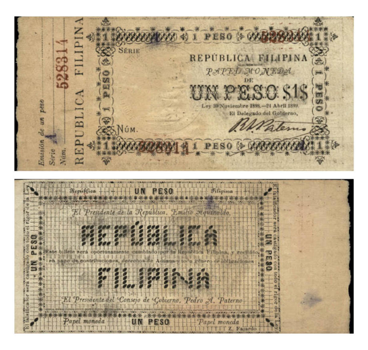 Face and back of extremely rare, high-grade issued, Republica Filipina 1 peso hand signed and with serial number c. 1898-1899 (P-A26a). In PMG AU 53 it sold above its estimate with $14,400. (Image courtesy Lyn Knight Auctions)