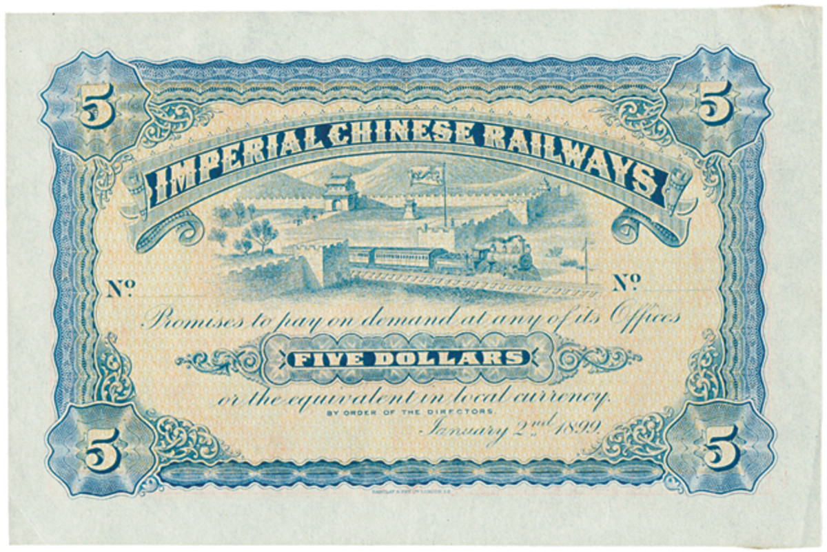 Unissued and uncompleted Imperial Chinese Railways $5 form of 1899, P-A60. In about UNC, the estimate is a highly conservative A$3,900.