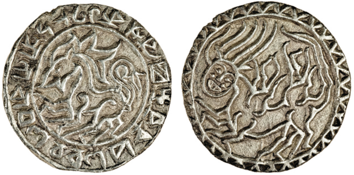 Another Rhodes super-rarity: tanka of the first ruler of Tripura, Ratna Manikya (1464-89). Obverse has lion surrounded by legend [Sri Narayana Charana Para Ratnapure 1386]; reverse human-faced winged dragon probably representing Narasimha, an avatar of the Hindu god Vishnu. The coin is believed unique and has never before been offered at auction. It carries an estimate of £5,000-£10,000 [$7,000-$14,000]. Image courtesy and © Spink London.