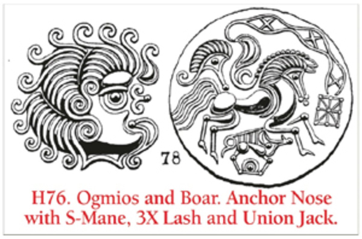 "One of Rybot's meticulous illustrations as shown by Rudd & Cottam cross referenced to Hooker and provided with a word descriptor. Love that ""Union Jack."" (Image courtesy Celtic Coins)"