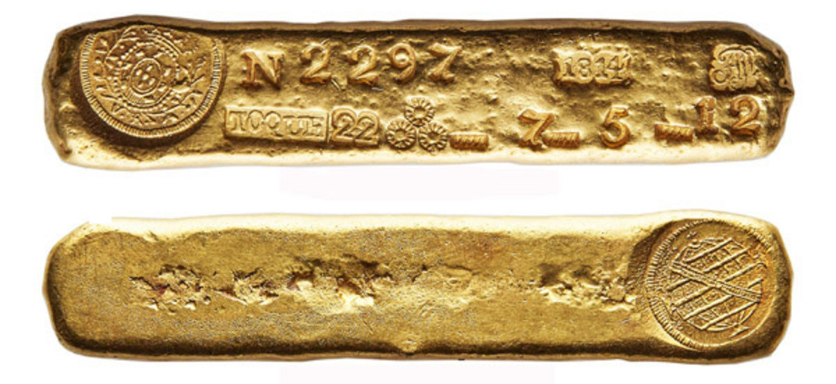 Top selling lot from Heritage Auctions' NYINC January world coin sale: heaviest Brazilian gold currency ingot produced at the Vila Rica foundry (Prober #1814-V-2297). It realized $264,000. (Images courtesy and © www.ha.com)