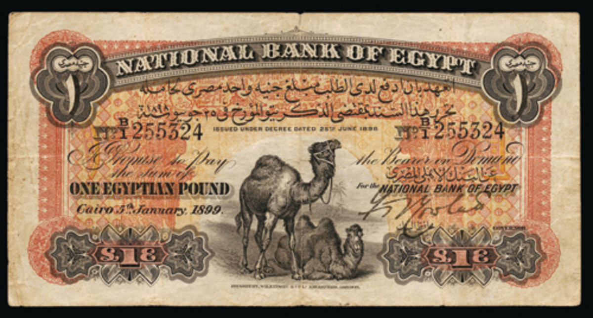 National Bank of Egypt two camels pound of January 5, 1899, took $26,400. (Image courtesy and © Lyn Knight Auctions, www.lynknight.com)