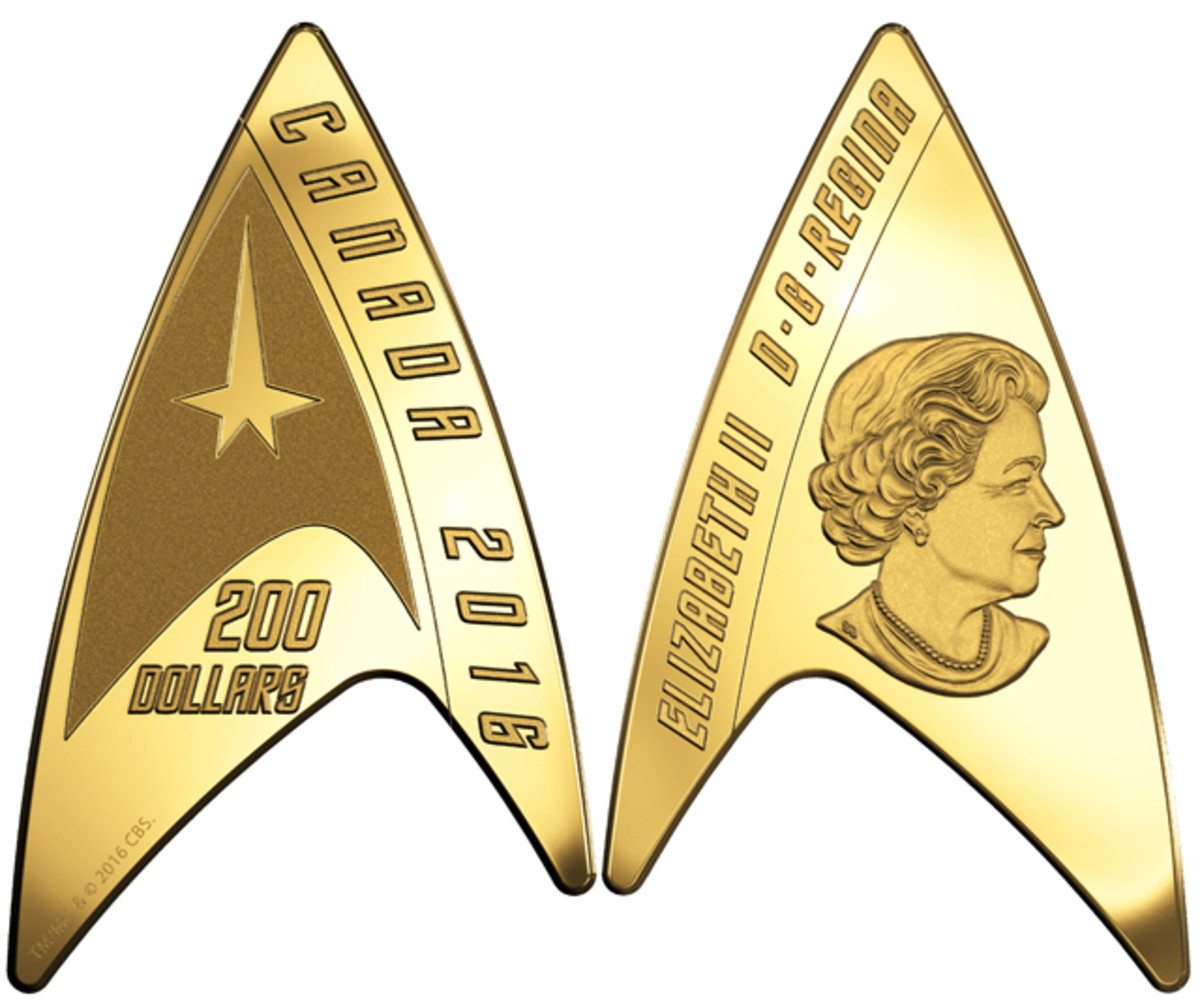 The Delta Shield insignia of United Federation of Planets' Starfleet forms this gold $200 proof  – the world's first delta-shaped coin. Images courtesy RCM. TM & © 2016 CBS Studios Inc. STAR TREK and related marks and logos are trademarks of CBS Studios Inc. All Rights Reserved.