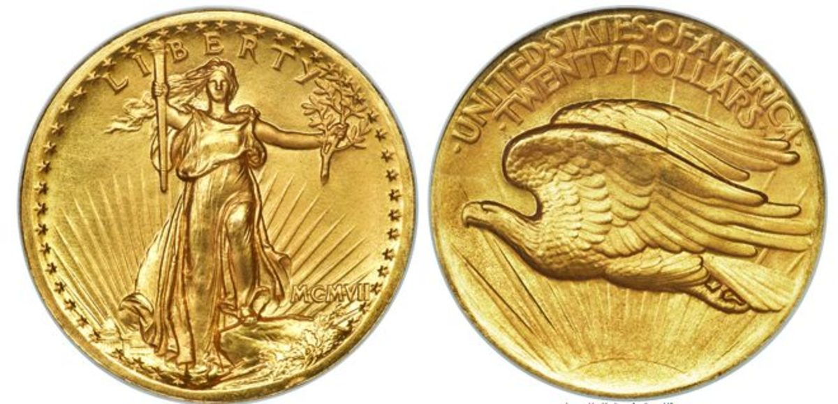 1907 high relief Saint-Gaudens double eagle gold coin, graded PR-69. (All images courtesy Heritage Auctions, HA.com.)