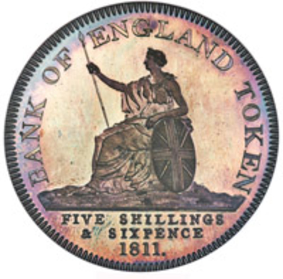 From the Cape Coral Collection of British Crowns: reverse of George III silver proof pattern five shillings and sixpence struck for the Bank of England in 1811 (KM-PnC68) that achieved $168,000 graded NGC PR67+ Cameo NGC. (Image courtesy and © www.ha.com)