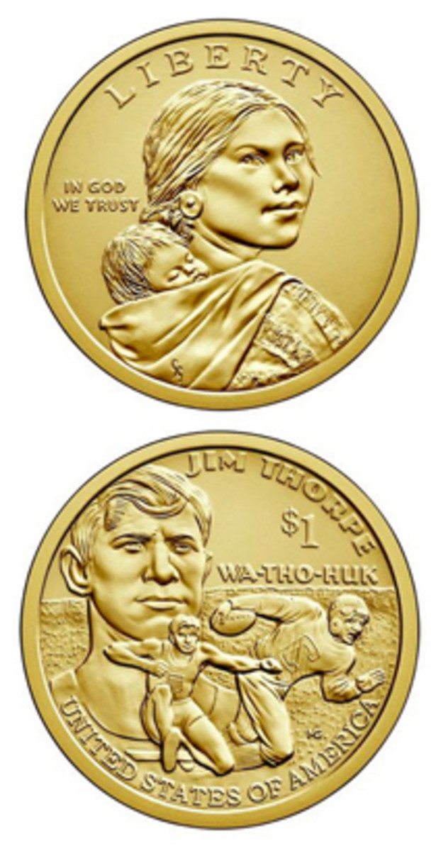The reverse of the 2018 Native American Dollar coin depicts the exceptional athlete Jim Thorpe.