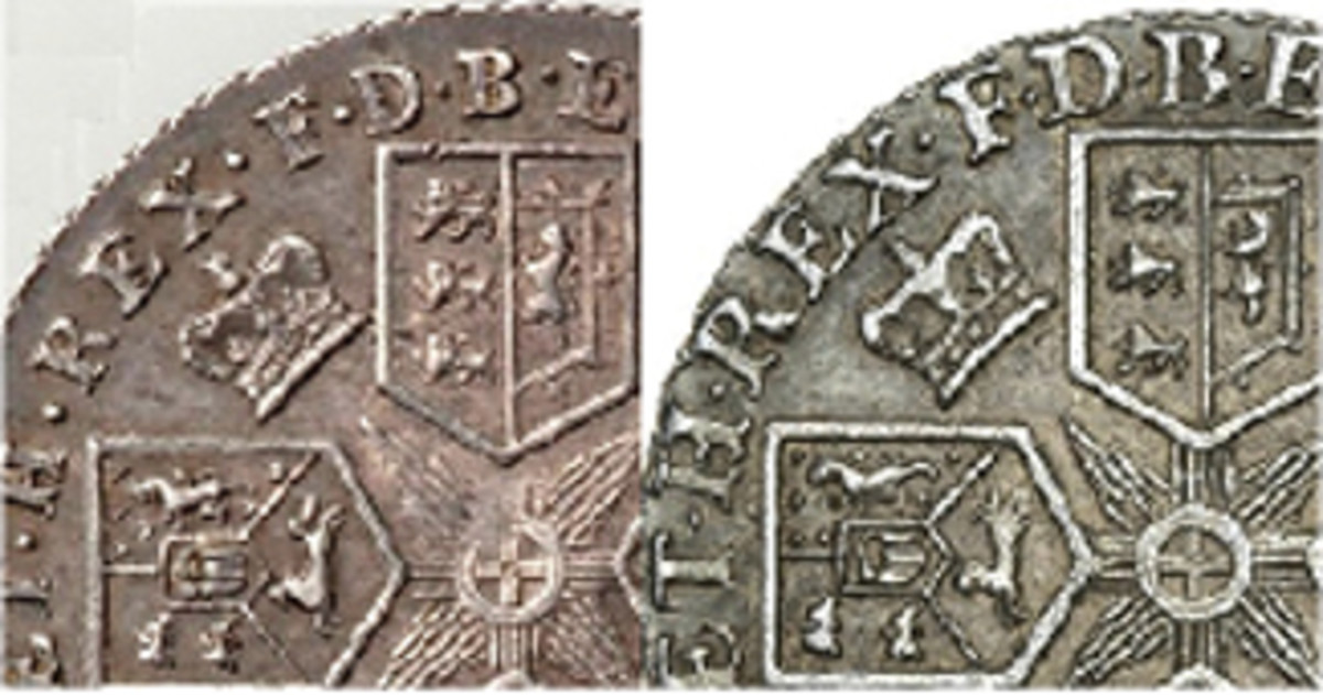 Enlarged views of one quadrant of the reverses of the 1787 shilling (left) and 1798 shilling (right). The difference in sizes of the fish-tailed letters used in each legend is obvious. The 1798 shilling shows the Hanoverian horse with three rear legs and the upper English lion with three front legs – not seen in the 1787 shilling. In the 1787 shilling, the horizontal and vertical lines of the central cross do not all extend to the shields as they do in the 1798. (Images extracted from Heritage Auctions & Spink originals)
