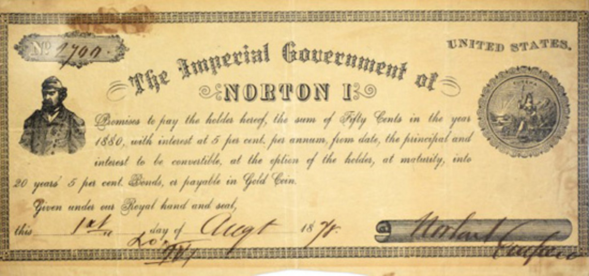 An Emperor Norton I bond sold for $12,600 at Kagin's Auctions' latest sale.
