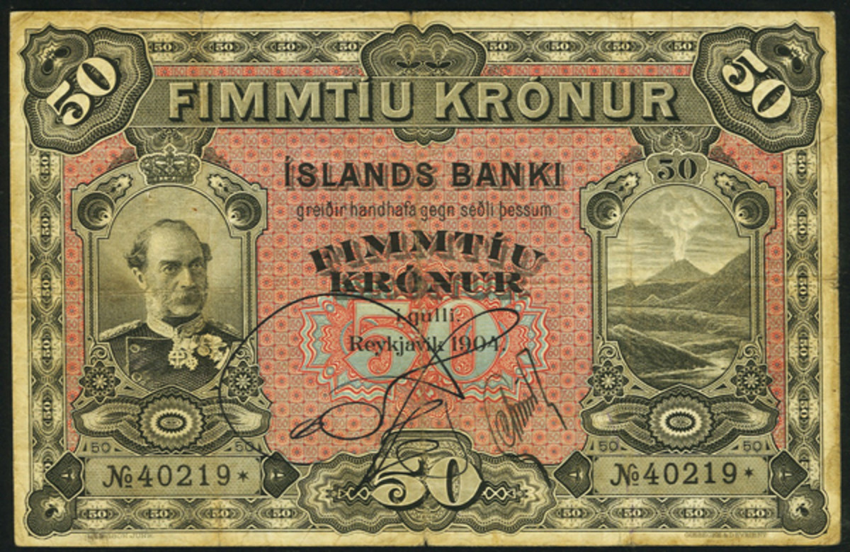 Icelandic Íslands Banki 50 krónur of 1904, P-12, that will go to the block in PMG Very Fine-25. The note is unpriced in the 'Standard Catalog of World Paper Money.' (Image courtesy and © www.ha.com)