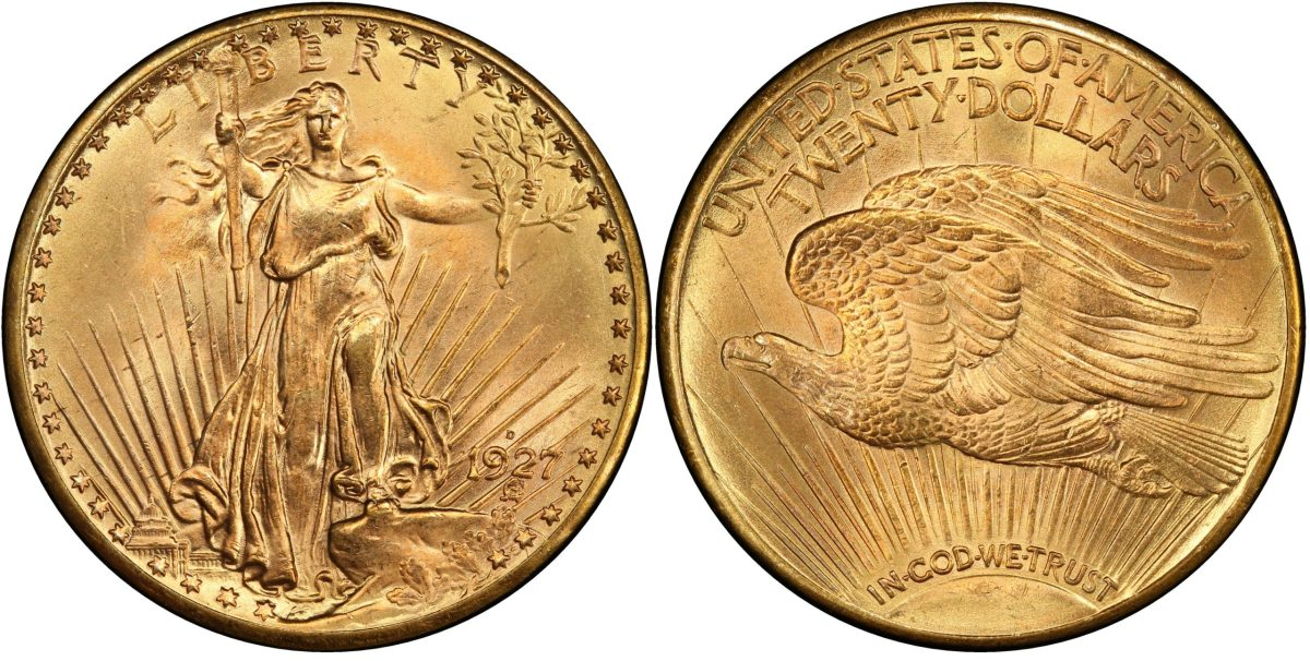 This 1927-D Saint Gaudens double eagle, graded MS-65+, sold for