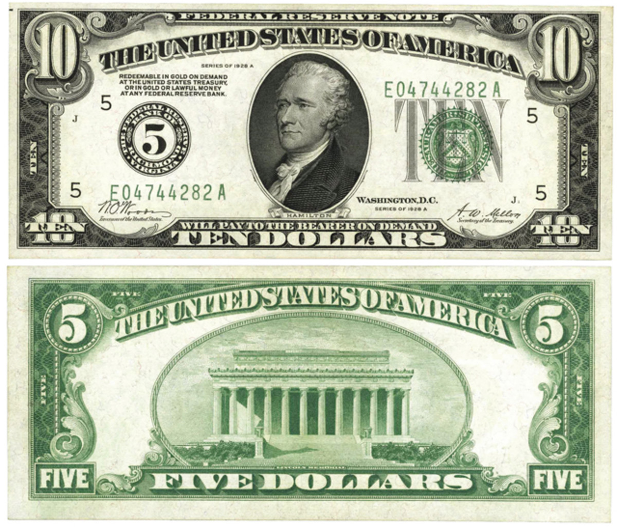 Six $10/$5 double denomination notes including this one were found at the Peoples Savings Bank and Trust Company of Wilmington, N.C., and hit the news in January 1932.