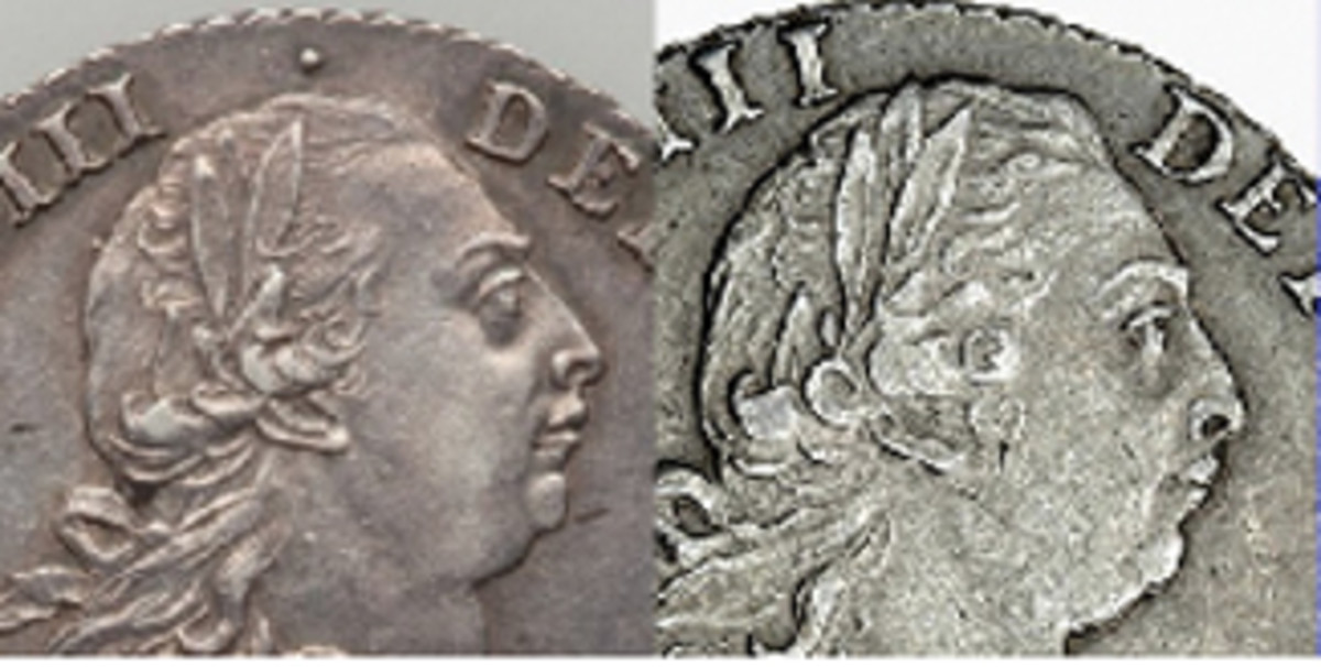 Enlarged views of part of King George's effigy. Left: 1787 shilling; right: 1798 shilling. Note the differences in the hair's detailing and its relationship to the wreath, that the tip of the wreath's upper leaf in 1798 extends into the field, that an S-shaped curl is in front of the king's ear in 1798, and that this effigy shows some doubling around the chin, lips and nose. The stop above the king's head in the 1787 legend is absent in 1798. (Images extracted from Heritage Auctions & Spink originals)
