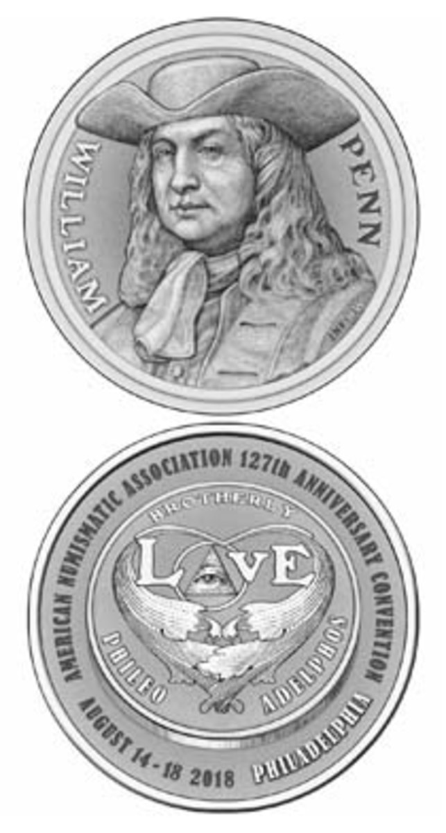Redesigned ANA convention medal features a William Penn obverse and a love token reverse.