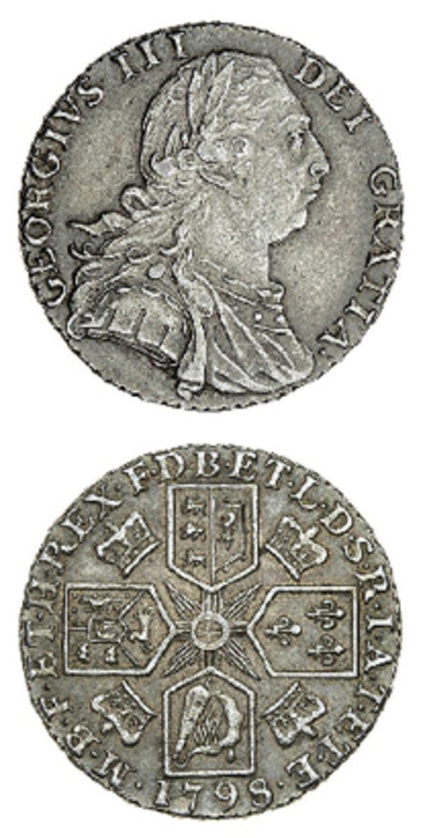 George III 1798 6.00 g shilling (KM-607.3, S-3747, ESC-2139) as sold by Spink in March. The obverse shows the second laureate, draped and cuirassed bust. On the reverse, the horizontal and vertical lines of the central cross are well defined and extend fully to the surrounding shields. In PCGS AU53, the coin sold for $30,113. (Image courtesy & © Spink, London)