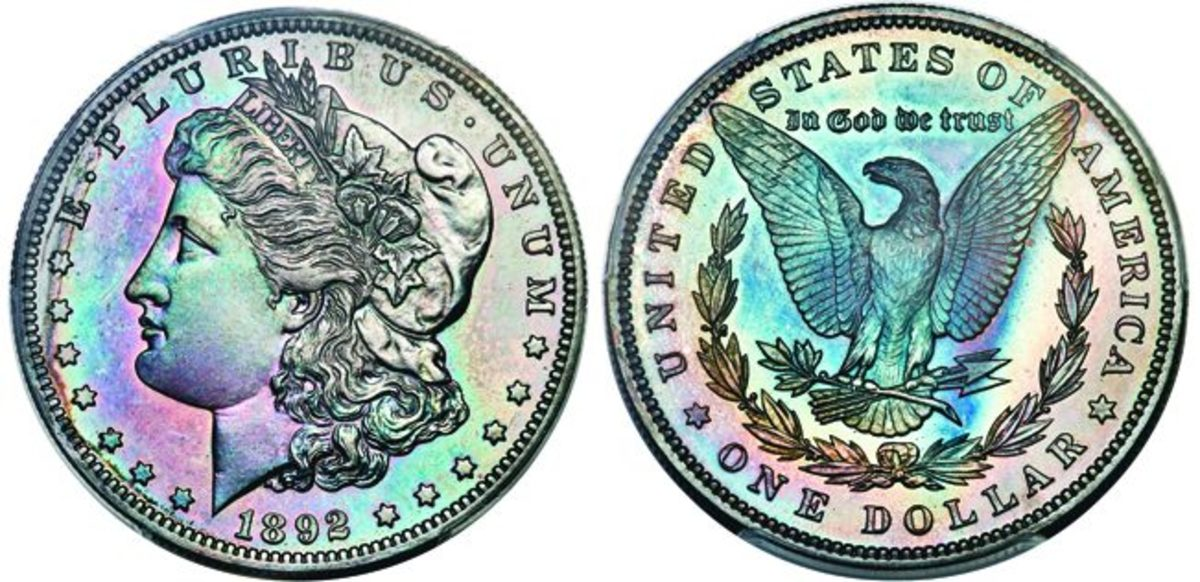 This Morgan dollar, graded PR-66, is one of six coins making up a proof set in the Dines Collection.