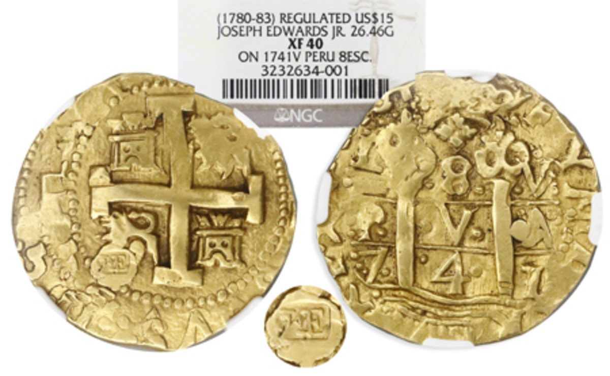 A stamp by goldsmith Joseph Edwards Jr. ties this 1741 gold cob 8 escudos of Peru to Revolutionary War Boston and raises its auction value to a hoped-for $100,000.