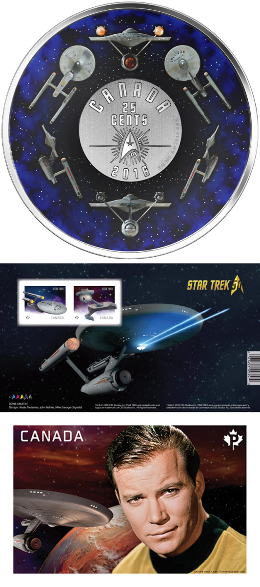 The RCM's nickel-plated steel 25 cents and stamp set produced to mark the golden anniversary of the original Star Trek television series. Images courtesy RCM. TM & © 2016 CBS Studios Inc. STAR TREK and related marks and logos are trademarks of CBS Studios Inc. All Rights Reserved.