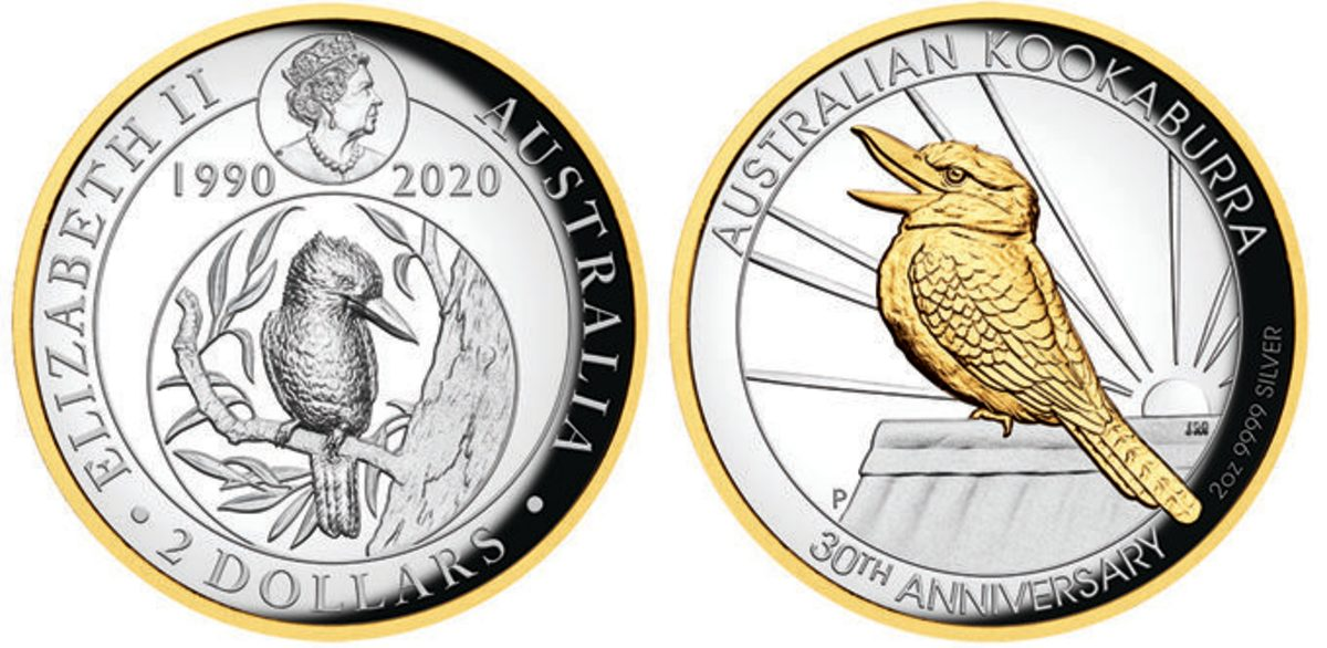 The obverse and reverse of the 30th Anniversary coin of the Australian kookaburra comes in silver proof with a selective gilding around the coin. (Images courtesy Perth Mint)