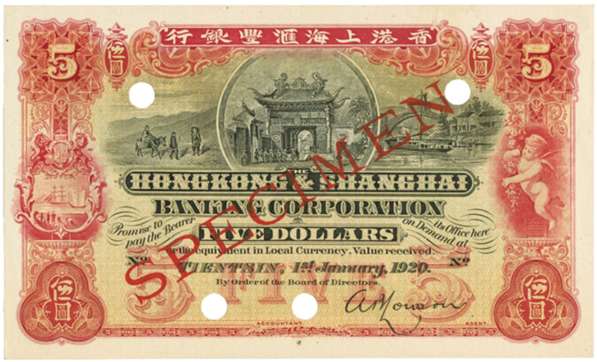 Uncirculated Hong Kong & Shanghai Banking Corp. $5 specimen of Tientsin. Same design as P-S381 but carries a 1920 date instead of a 1907. In UNC it has an estimate of A$2,800.
