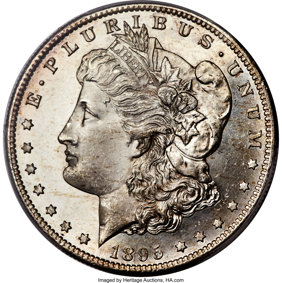 Lot 3802, has already exceeded the minimum bid of $80,000 for an 1895-S $1 MS66+ Prooflike PCGS Morgan silver dollar. (Image courtesy of Heritage Auctions)