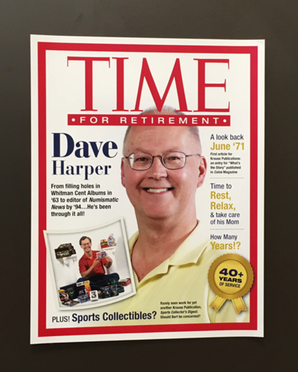 "A special ""TIME for Retirement"" mock magazine cover created to mark David C. Harper's long-time career with Krause Publications, a division of F+W Media, Inc."