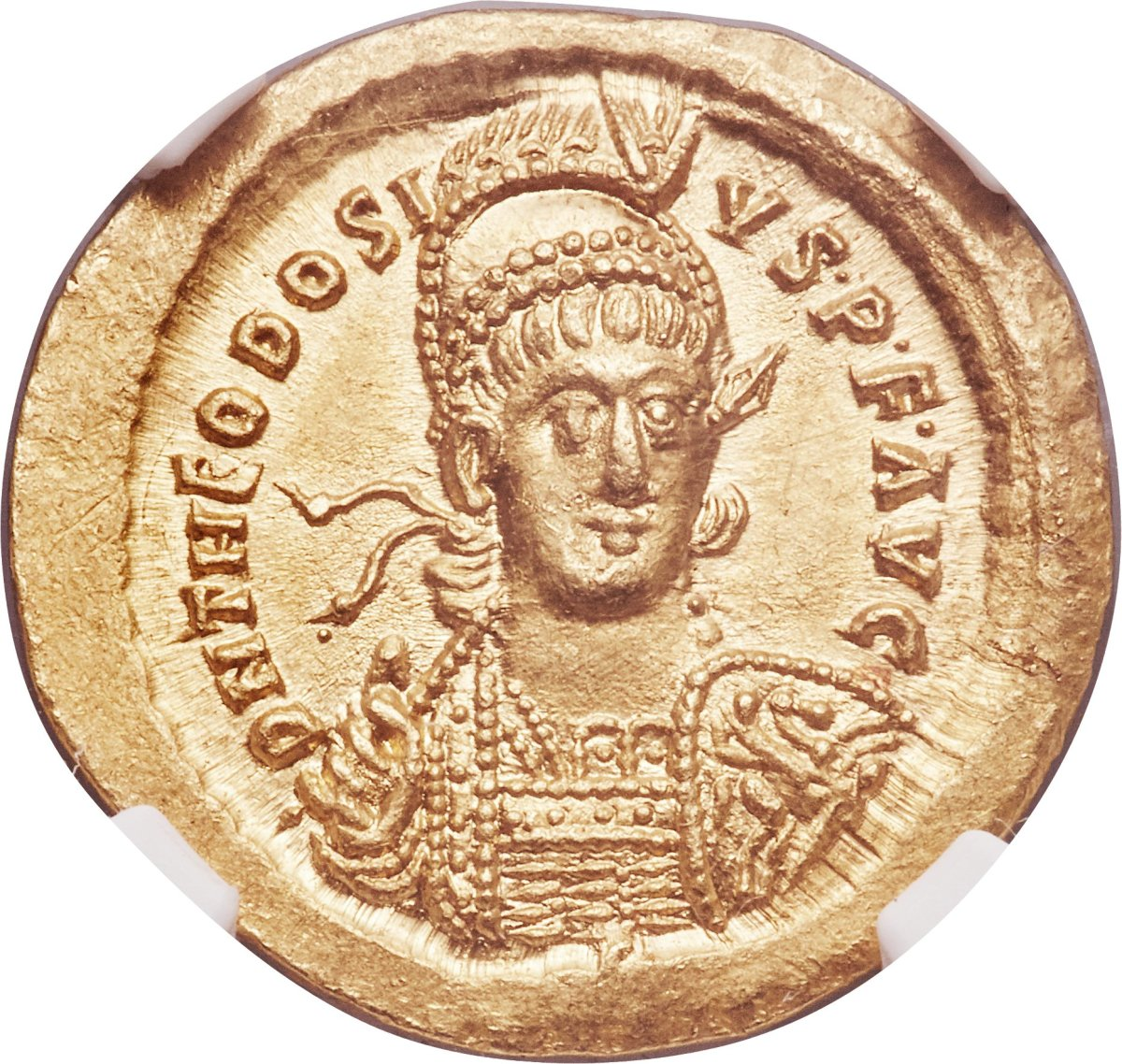 Shown is an example of a Theodosius II solidus. Image courtesy of Heritage Auctions