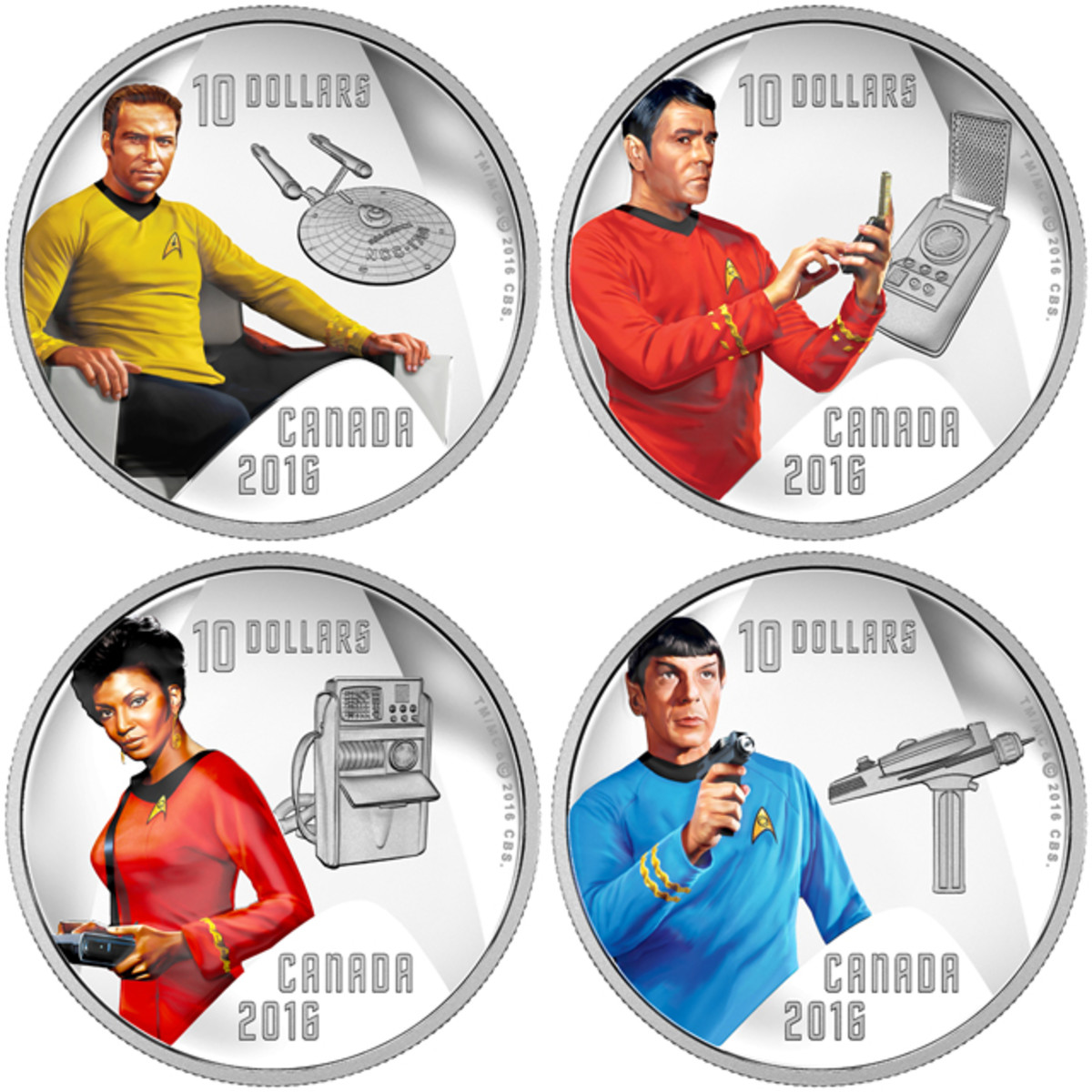 Canada's four $10 silver proofs celebrating 50 years of the original Star Trek. The coins show eight icons from that first series: Captain James Tiberius Kirk and the U.S.S. Enterprise, Lieutenant Commander Montgomery Scott and a communicator, Communications Officer Lieutenant Uhura and a tricorder, and Lieutenant Commander Spock with a phaser. Images courtesy RCM. TM & © 2016 CBS Studios Inc. STAR TREK and related marks and logos are trademarks of CBS Studios Inc. All Rights Reserved.