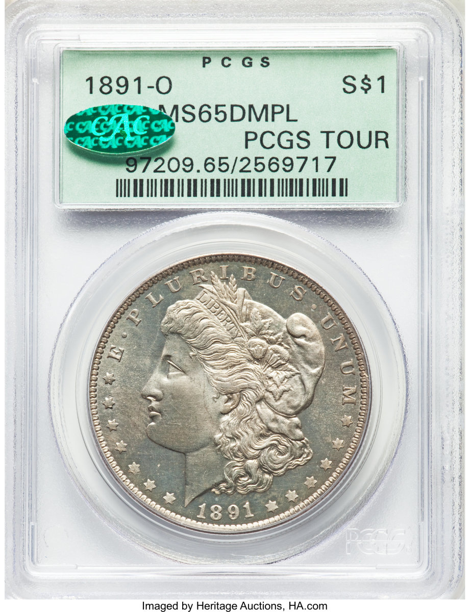 One of two known to PCGS, this 1891-O Morgan Dollar in MS65 will be appealing to bidders with its deep mirror prooflike surface.  (Image courtesy of Heritage Auctions)