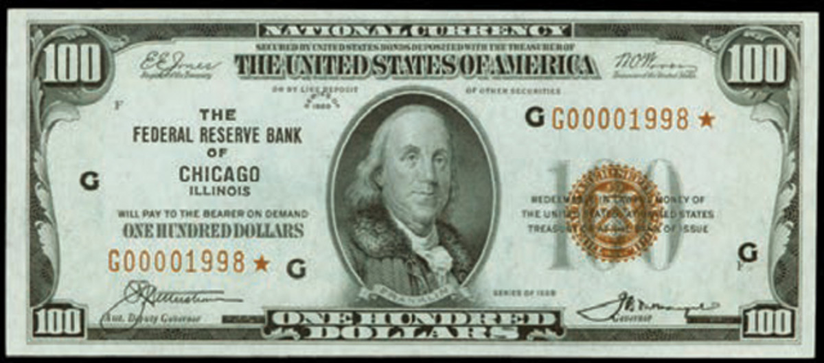 A strong price ($58,750) was achieved by this $100 star note.