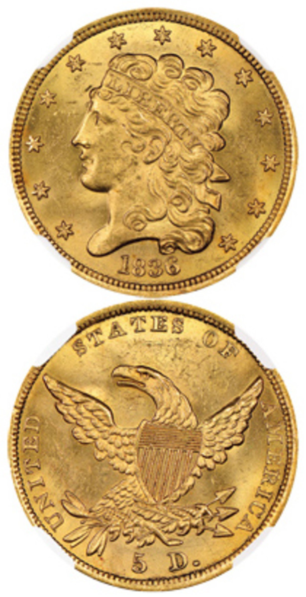 In this case, the riches of the sea come in the form of an 1836 $5 gold piece slabbed by NGC.