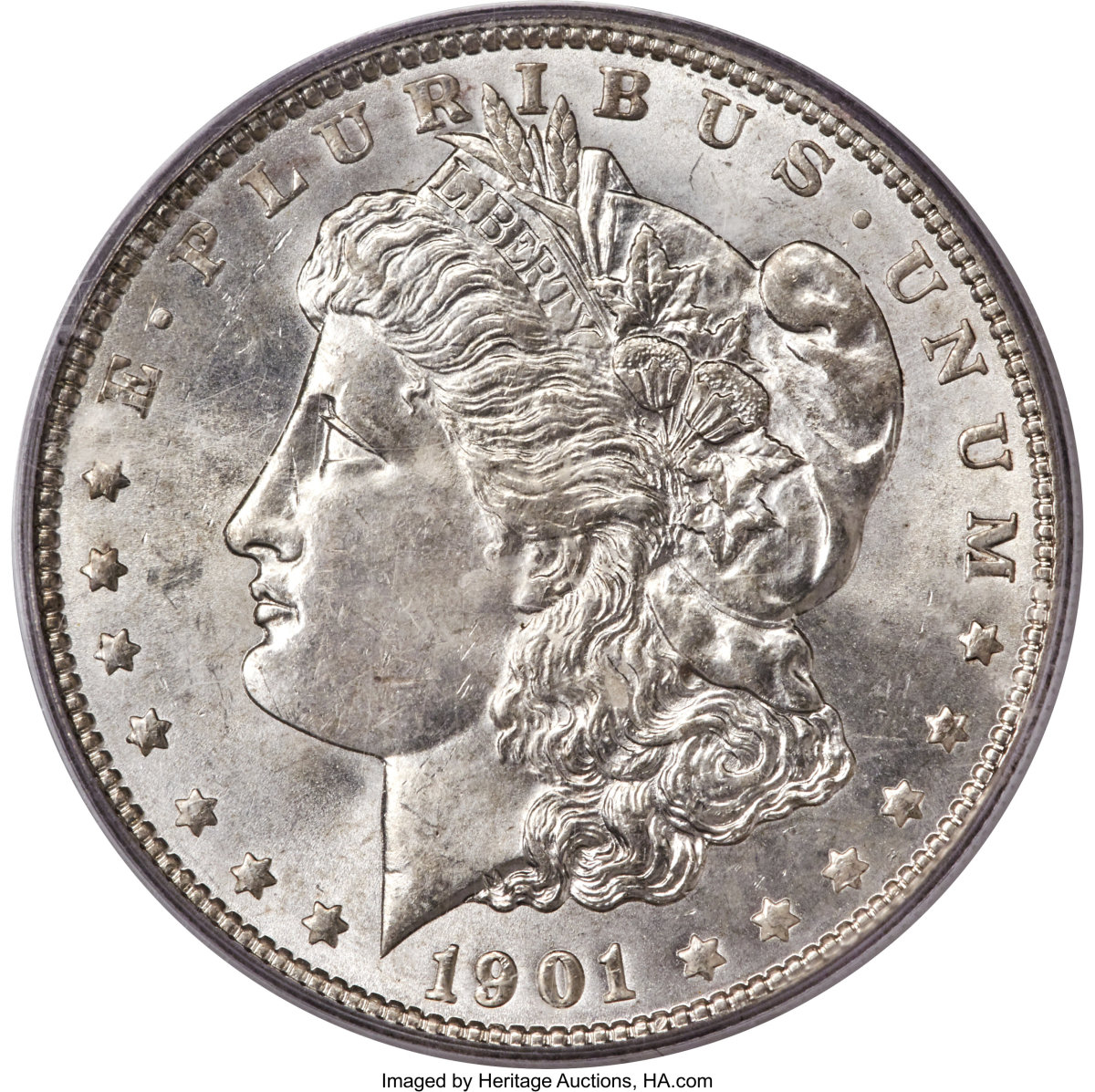 :  Lot 3804 features at 1901 Morgan Dollar graded MS64 PCGS.  While nearly seven million were minted, few have survived in any Mint State Grade.  (Image courtesy of Heritage Auctions)