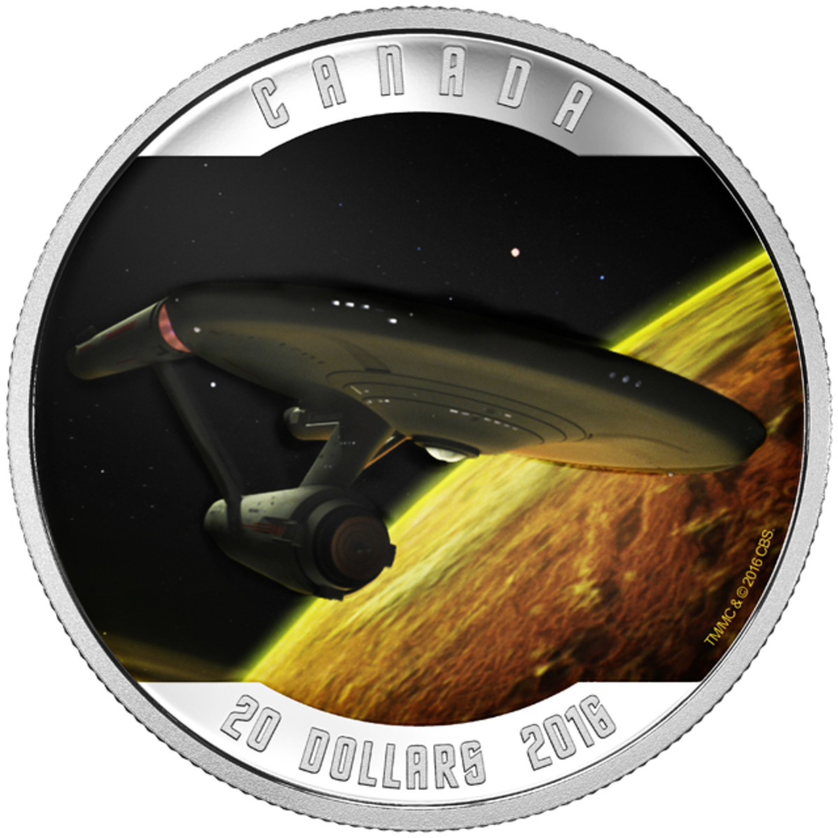 The U.S.S. Enterprise approaches a Class K planet on the reverse of this silver $20 Canadian proof. Image courtesy RCM. TM & © 2016 CBS Studios Inc. STAR TREK and related marks and logos are trademarks of CBS Studios Inc. All Rights Reserved.