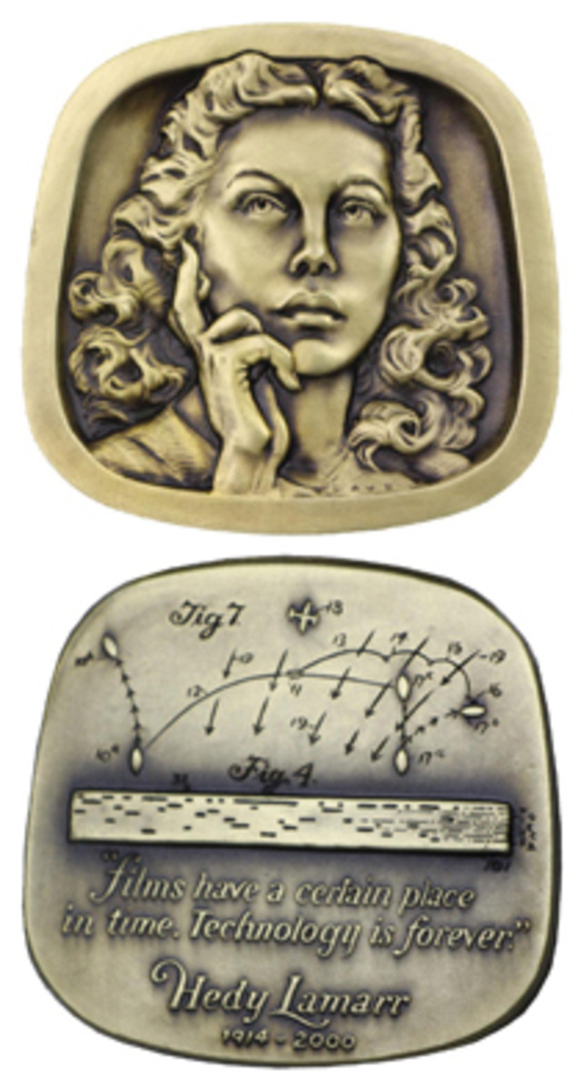 Hedy Lamarr appears on the obverse of the new Jewish-American Hall of Fame medal by Eugene Daub. The reverse shows a portion of her patent. (Photos courtesy of Eugene Daub)