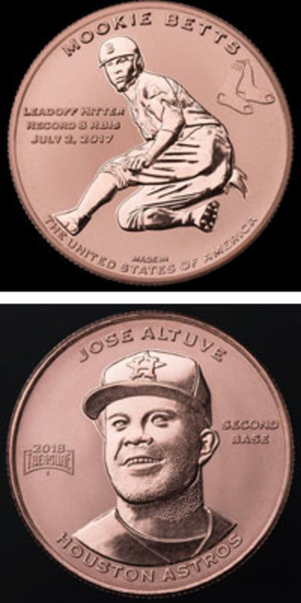 At top, Mookie Betts appears on a copper medal, one of a set of 30, that is now available. At bottom, Jose Altuve of the Houston Astros has a medal in the set as well.