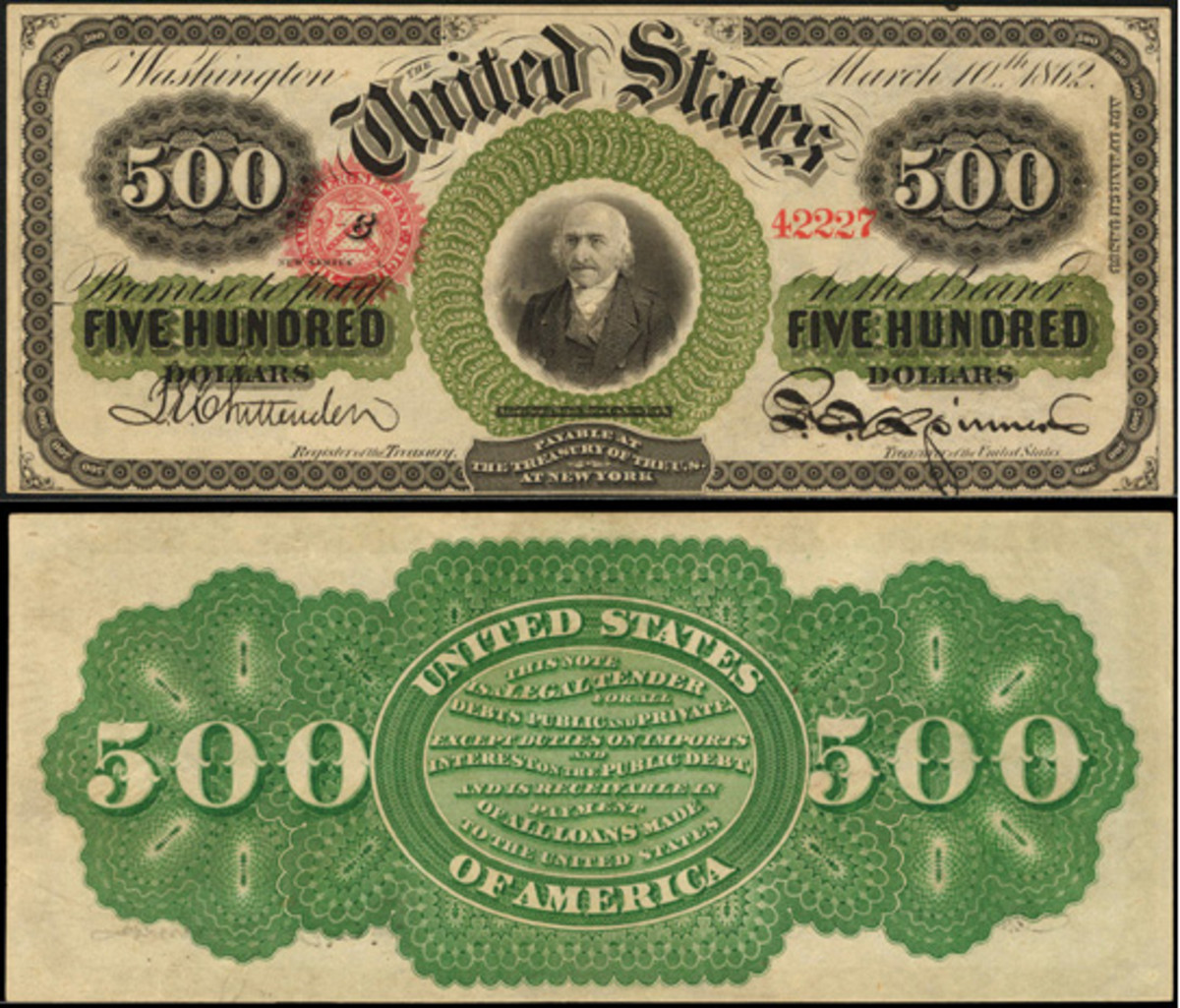 Among the offerings for sale from the Joel R. Anderson Collection is this 1863 $500 legal tender note, Fr. 183c. Graded PCGS Very Choice New 64PPQ, it is the finest of four known.