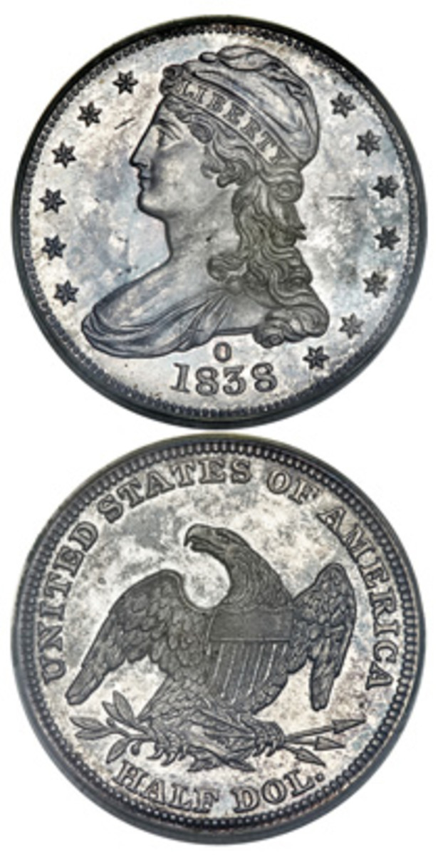 An 1838-O reeeded-edge half dollar struck as a branch mint proof sold for $444,000 at the beginning of the year at a Florida United Numismatists auction called by Heritage. It was graded Proof-63. (Image courtesy Heritage Auctions)