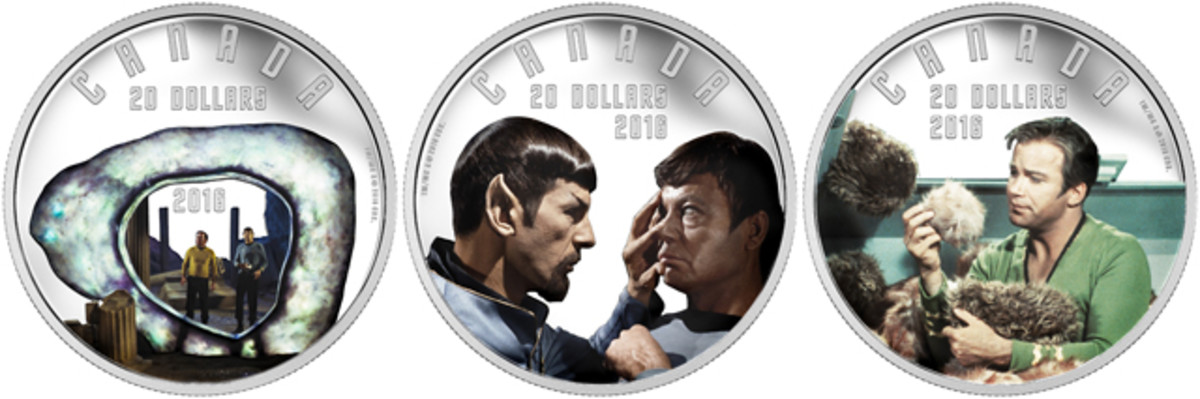 The three most popular episodes of the original Star Trek series feature on these silver $20 proofs. From left: 'The City on the Edge of Forever', 'Mirror Mirror', and 'The Trouble with Tribbles'. Images courtesy RCM. TM & © 2016 CBS Studios Inc. STAR TREK and related marks and logos are trademarks of CBS Studios Inc. All Rights Reserved.