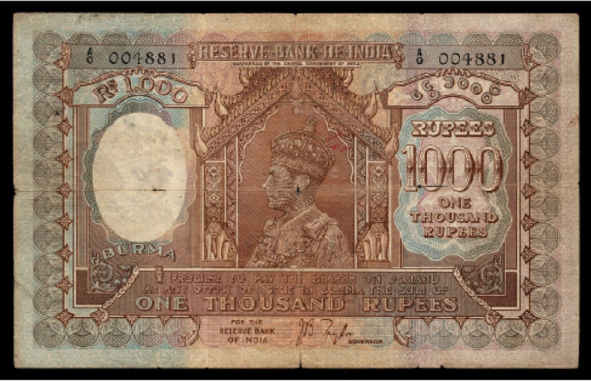 Battered but uncommon, this Burmese Reserve Bank of India 1,000 rupees of 1939 finished at nearly four times its high estimate during the sale. This is the Standard Catalog of World Paper Money plate note. (Image courtesy and © Lyn Knight Auctions, www.lynknight.com)
