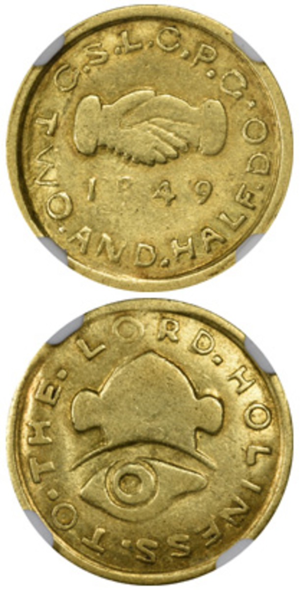 An 1849 Mormon gold $2.50 in Numismatic Guaranty Corporation AU58 brought $63,000.