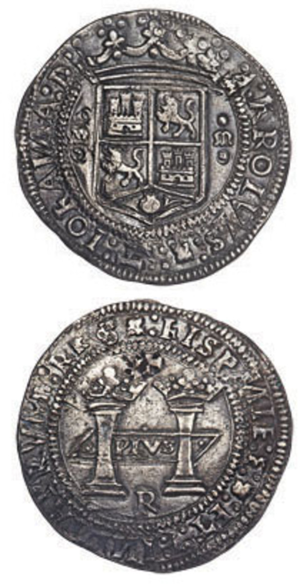 Obverse and reverse of the Mexico City mint Carlos & Joanna 8 reales of 1538, the first dollar-sized silver coin to be struck in the Americas and the first Spanish 8 reales from the New World. In NGC AU-50, it will be offered for sale in August at Heritage Auctions' World and Ancient Coin Platinum Night held during ANA's World's Fair of Money. (Image courtesy www.ha.com)
