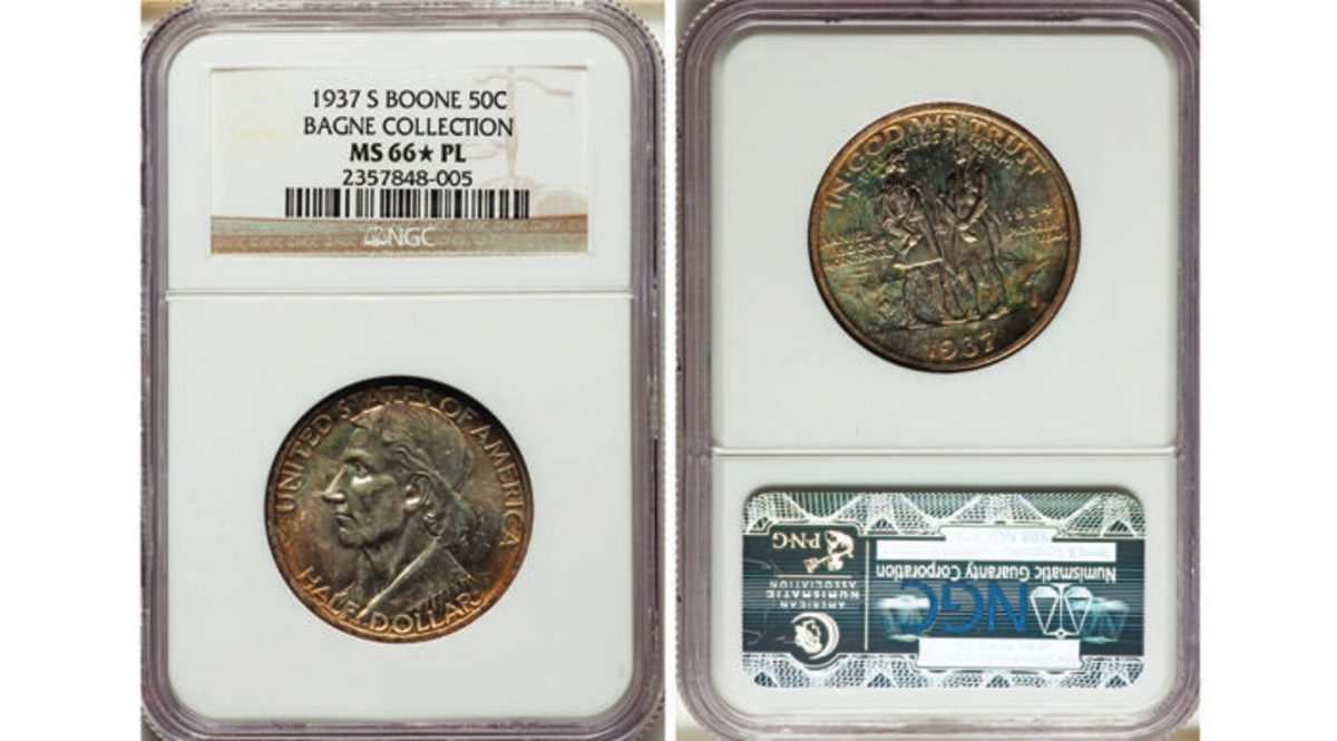 1937-S Daniel Boone Bicentennial half dollar.