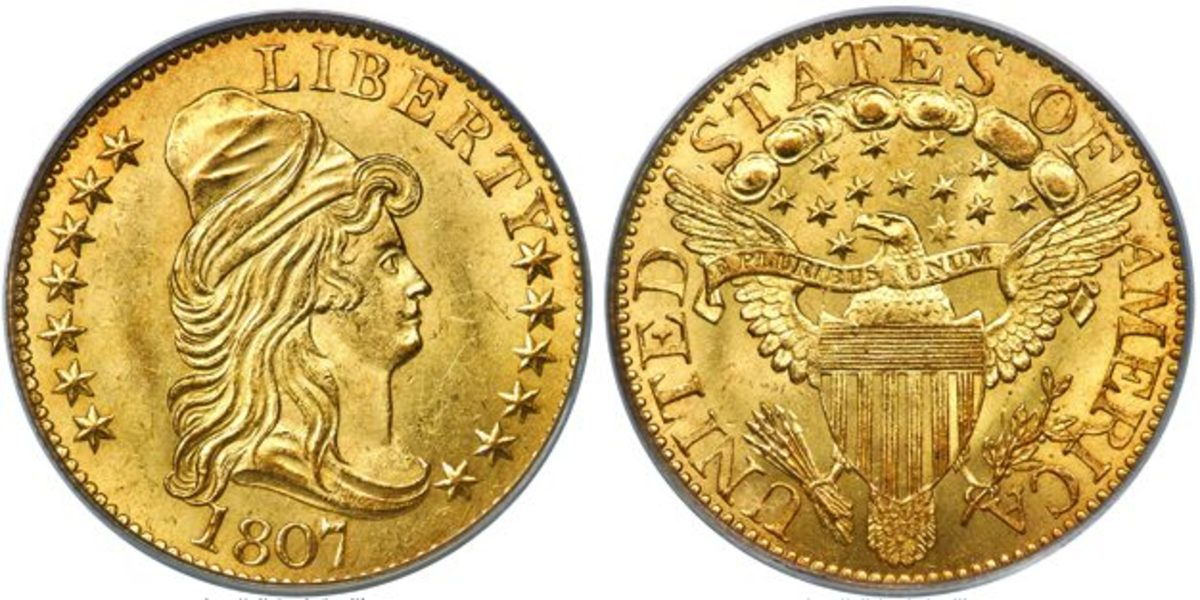 1807 Capped Bust half eagle graded MS-64.