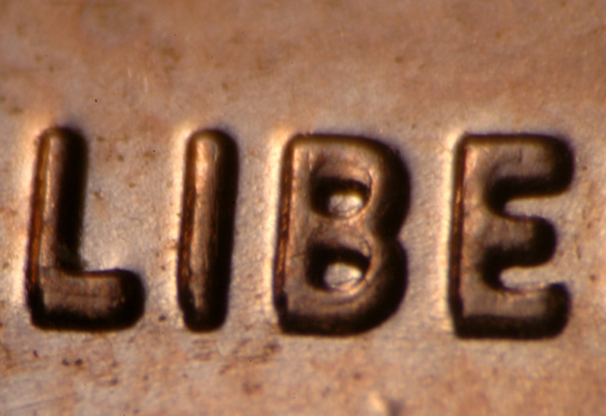 "Doubling in the first part of ""LIBERTY"" on the 2006 doubled-die cent."