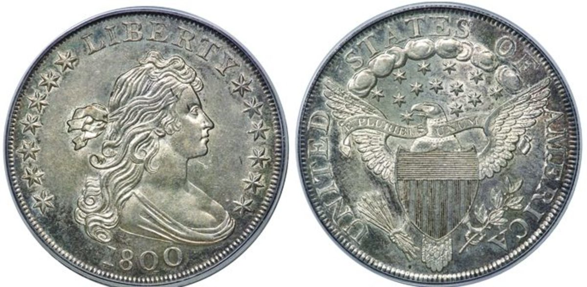 "Two Draped Bust dollars highlight the Dines ""Goldbug"" collection: a 1798 graded MS-64 (top) and an 1800 graded MS-63."