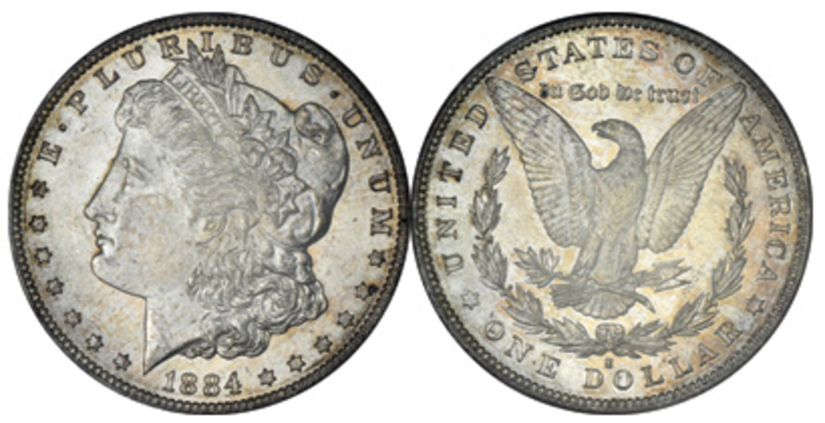 A condition rarity 1184-S Morgan dollar sold for $22,800 in MCGS MS62.