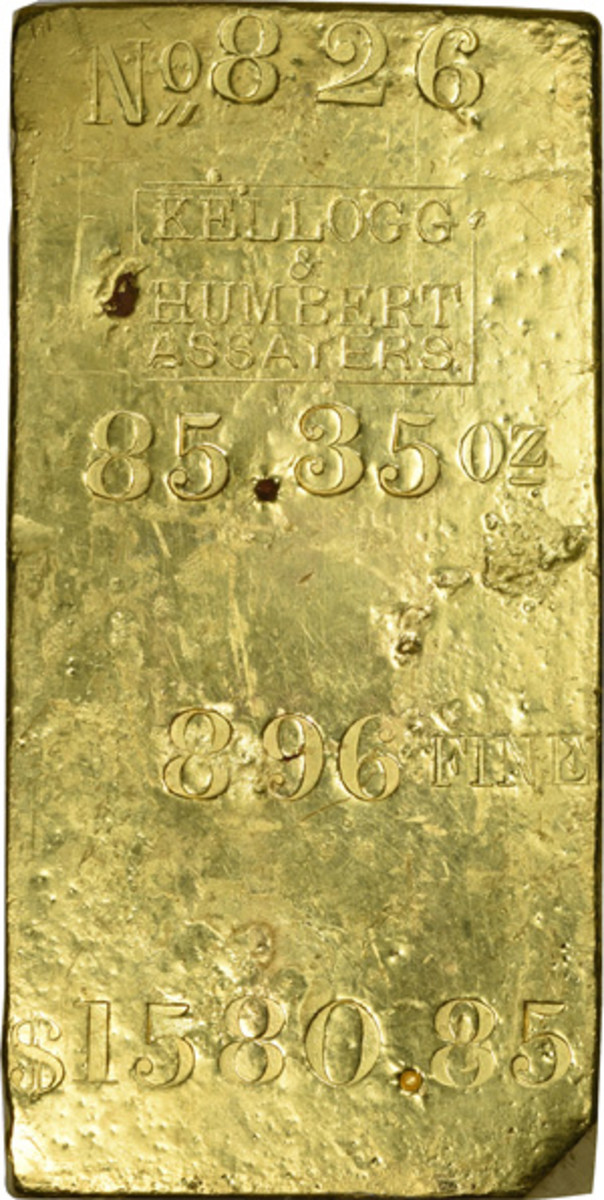 Top lot was an 85.35-ounce gold bar from Kellogg & Humbert Assayers that had been recovered from the wreck of the S.S. Central America. It sold for $186,000.