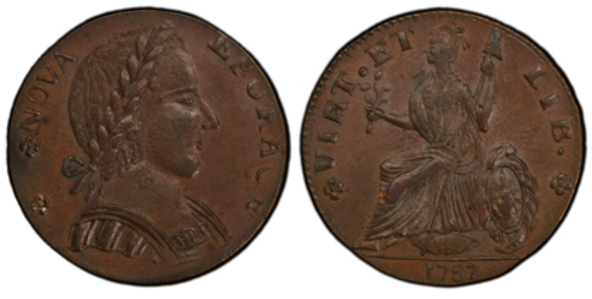 """One of only about a dozen known examples, this 1787 """"Nova Eborac"""" Large Head variety New York copper piece will be among the historic early American coins on display at the PCGS Set Registry® booth during the Jan. 31-Feb. 2, 2019, Long Beach Expo. (Photo credit: Professional Coin Grading Service www.PCGS.com)"""