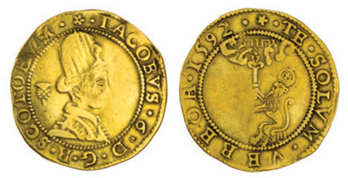 Rare and unusual 80 shillings or 4 pounds gold piece of James VI of Scotland showing the King sporting a tall Renaissance style hat. Dating from 1592 (KM: MB-154; S-5457) it fetched $7,064 in F. This is the monarch who would become James I of England. (Images courtesy and © Spink, London)